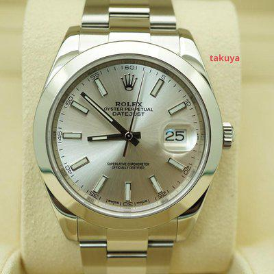 FSOT:Rolex 126300 DATEJUST 41 SILVER STICK DIAL OYSTER BAND 2018 WARRANTY FULL SET