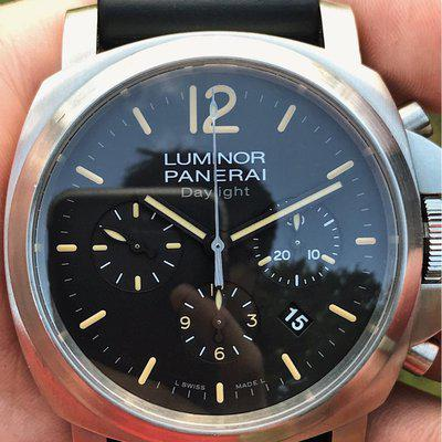 FS: Panerai Luminor Daylight Chronograph Pam 356 Black Dial w/ Boxes and extra straps
