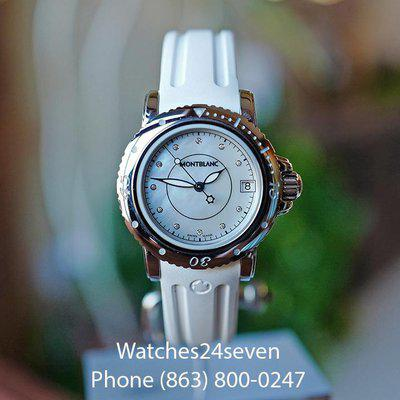FS MONTBLANC LADIES SPORT AUTO DATE MOTHER OF PEARL & DIAMOND DIAL