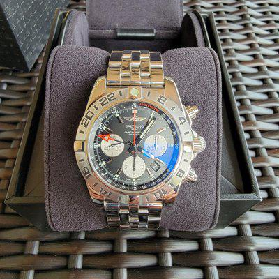 Fs:breitling chronomat 44 gmt stainless steel bracelet black dial full set mint
