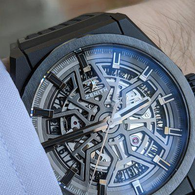 """[WTS] Zenith Defy Classic Skeleton/Openwork Dial - """"Blacked Out"""" Ceramic - Rubber - Full Kit - Ref# 49.9000.670/77.R782"""