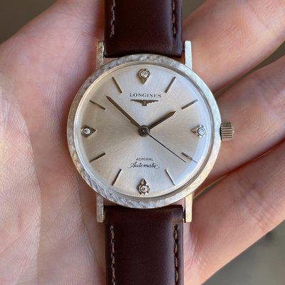 [WTS] Vintage 1960s Solid 14K White Gold Longines Admiral w/ an Original Textured Bezel & Diamond Accents