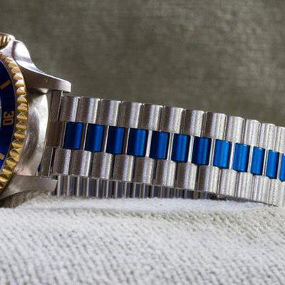 Blue & steel link 3-row NSA Swiss band NOS just $225 shipped