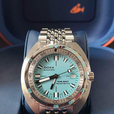 FSOT: Doxa Sub 300T Aquamarine Dive Watch - Turquoise, 42.5mm, Recent Purchase, Complete Set w/ SS Bracelet - $1,675