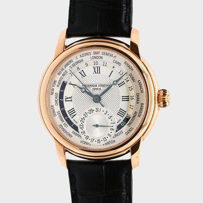 FS: FREDERIQUE CONSTANT WORLDTIMER SILVER DIAL ROSE GOLD-PLATED