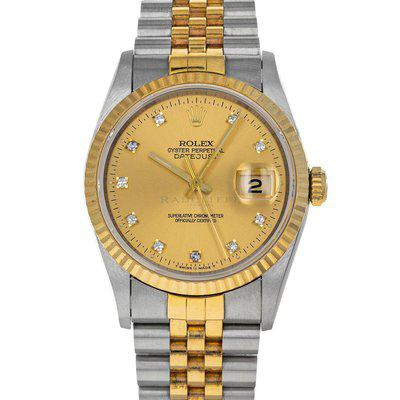FS- Rolex 16233 Datejust S Champagne Diamond Dial Box Papers
