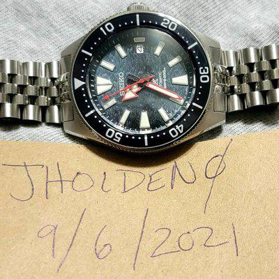 [WTS] Seiko 62Mas Mod with OEM Samurai Dark Manta Ray Dial, C3 Superluminova sapphire bezel insert, dial, and hands. Double domed blue AR crystal and stainless jubilee bracelet with milled clasp.