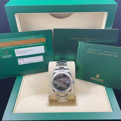 FS: NEW Rolex Datejust 41mm Stainless Steel 126334 Wimbledon Grey Green Oyster Complete