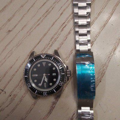 Parnis Seadweller 44mm automatic domed sapphire ceramic bezel glidelock oyster