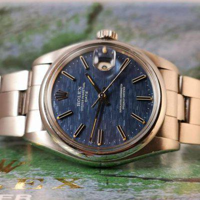 Rolex Oyster Perpetual Date ref 1500 Blue Linen Dial