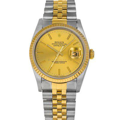 FS- Rolex Datejust 16233 R Champagne Dial Steel 18K Yellow Gold Box Papers