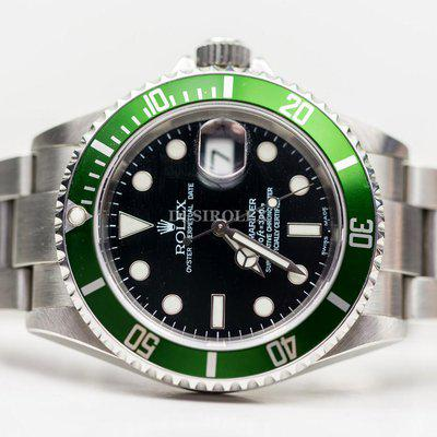 FSOT: Excellent Rolex 16610LV Kermit Green Submariner F-serial Box & Papers US AD