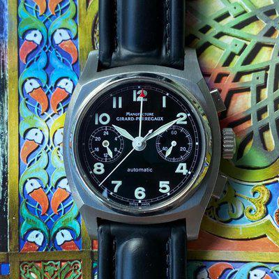FS :Girard Perregaux Vintage 1960 Black Dial Chronograph Automatic Stainless Steel