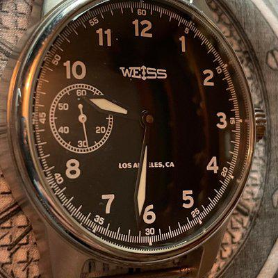 SOLD. FS: WEISS Watch Company Military. Black LA Dial 42mm. $800 8/22