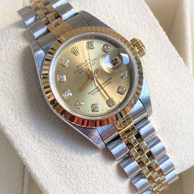 Rolex Ladies Datejust 69173 Stainless Steel/Yellow Gold 26mm Diamond Dial