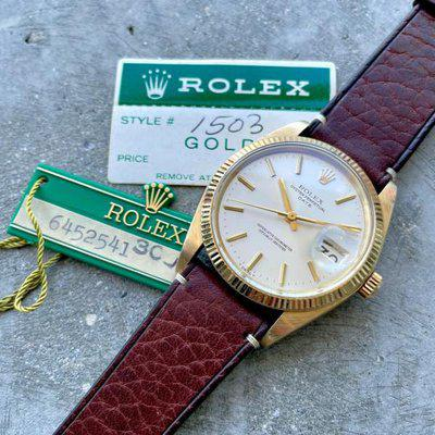 1980 Vintage Rolex Date Mens 14K Yellow Gold Watch Reference 1503 Hang Tag