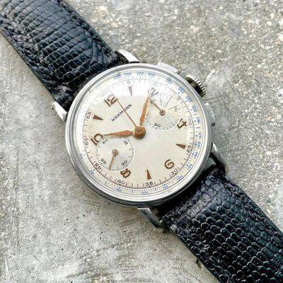 Vintage Wakmann Stainless Steel Chronograph 144 Manual Movement