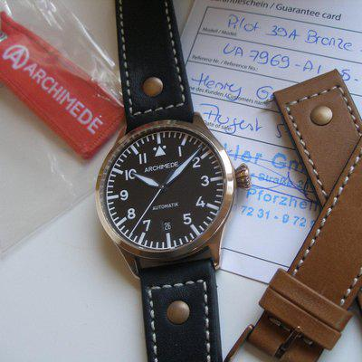 sold: Archimede Bronze Pilot 39 Automatic, Blued Hands, Solid Caseback, Extra New Strap...