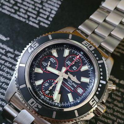 FSOT: Breitling SuperOcean Chronograph II (A13341) Watch - 44mm, Black/Red, Box/Books/Etc, Stainless Steel Bracelet - $2,975