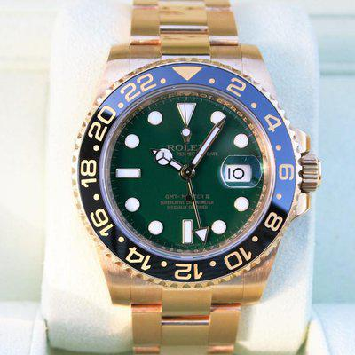 FS: Rolex 116718 GMT II Green Dial 18K Yellow Gold Box and Paper