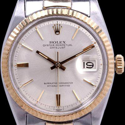 """FS: 1966 Rolex Two-Tone Datejust (Ref. 1601) """"Doorstop Dial"""" W/ Box & Papers"""
