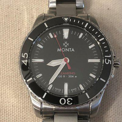 Monta Oceanking no date, inky black dial, red seconds hand