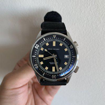 FS: Dan Henry 1970 Automatic Diver Black + Grey Dial 40mm Discontinued!