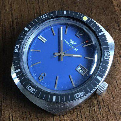 SOLD - Vintage Waltham Diver with Attractive Blue Dial