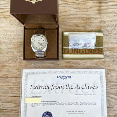 SOLD: Vintage Longines Admiral with Box, Papers, Stamped Warranty, and signed Extract.