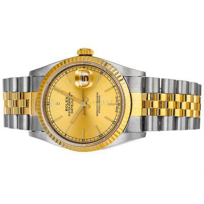 FS- Rolex 16233 Datejust X Champagne Dial Steel 18k Gold Box RSC Papers