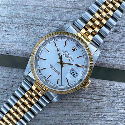 Rolex 16233 R Datejust White Stick Dial Holes Case Jubilee Steel 18K Yellow Gold