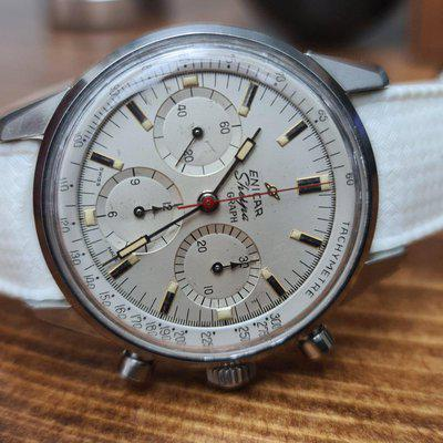 SOLD - Enicar Sherpa Graph Mark 1d - White Dial