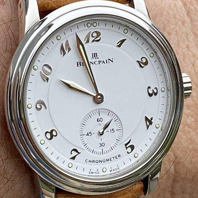 FS- Blancpain Villeret 7002 hand wound steel dress watch with small seconds and Breguet numerals