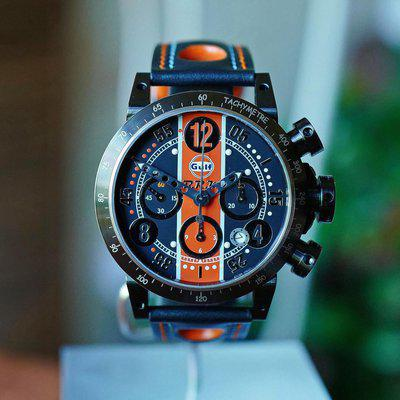 FS BRM V8 CHRONOGRAPH AUTOMATIC LIMITED EDITION GULF RACING WATCH 44MM