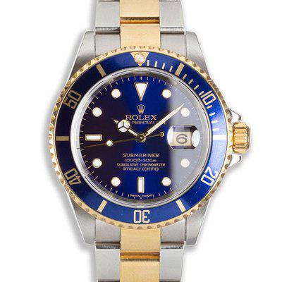 2006 Rolex Two-tone Submariner 16613 Blue Dial