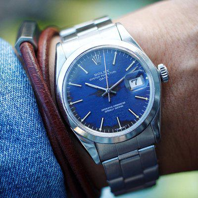 """[WTS] Rolex Oyster Perpetual Date ref. 1500 circa 1969 with Tropical """"denim"""" dial"""