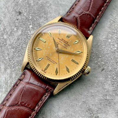 1956 Rolex Date Mens 6567 Yellow Gold Watch Tropical dial with Serpico Y Laino