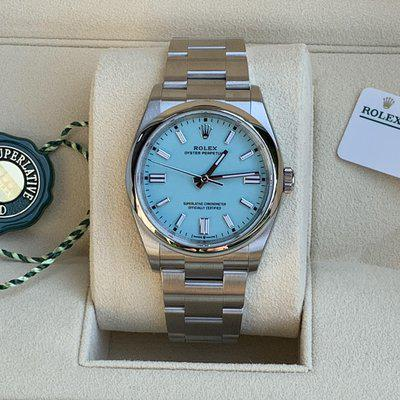 FS: BRAND NEW 2021 Rolex OP Tiffany Blue Dial Stickers Oyster Perpetual 36MM 126000
