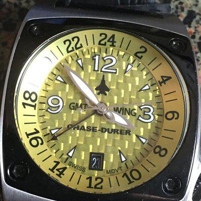 """CHASE DURER """" GMT WING """" ..with Yellow Carbon Fiber Dial..$175"""