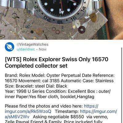 [WTS] Rolex Explorer Swiss Only 16570 Completed collector set