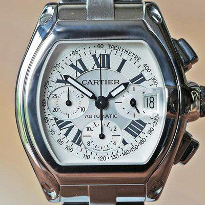 FS CARTIER ROADSTER XL CHRONOGRAPH AUTOMATIC SILVER DIAL STEEL
