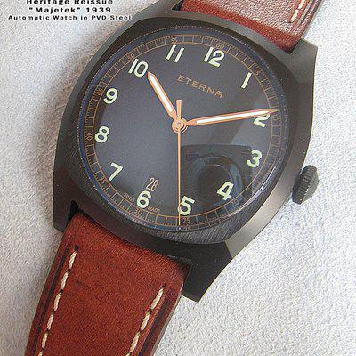 "FS-Eterna Military Replica 1939 Czech Air ""Majetek"" pilot watch  PVD Black case LIMITED EDITION 1939 pieces. US$1250+S"