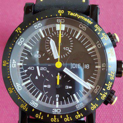 Temption Chronograph Classic Curare Day Date Yellow Black Limitiert 43mm