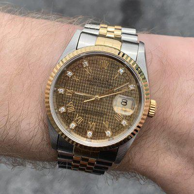 [WTS] 1991 Rare Rolex DateJust 16233 Houndstooth Dial with Diamonds!