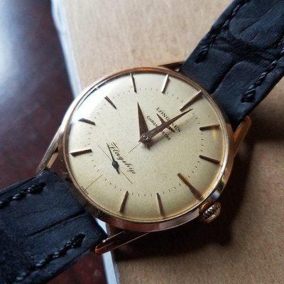FS - Longines Flagship Chronometer (401) pink gold, exceptionally rare.