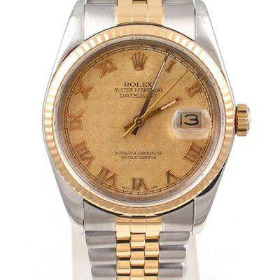 FS:Rolex Two Tone Datejust 36MM W/Champagne Pyramid Roman Dial Jubilee Band Mdl#16233