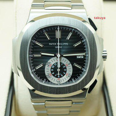 FSOT:Patek PHILIPPE NAUTILUS 5980 CHRONOGRAPH STAINLESS STEEL BLUE DIAL COMPLETE SET