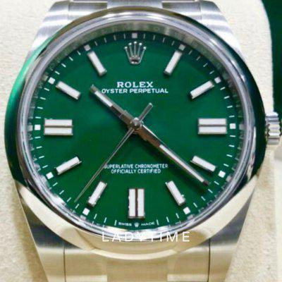 FS: New Rolex 126300 Oyster Perpetual 41 mm Green Stick Dial Full Set