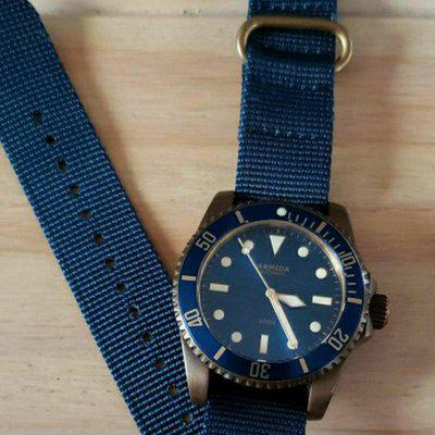 Armida A8 Watch- Brass Body On Blue Nato Strap