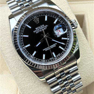 Rolex Datejust 116234 Jubilee Black Dial ROULETTE WHEEL Box/Papers